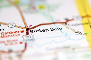 Broken Bow. Oklahoma. USA on a geography map