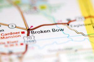 Broken Bow. Oklahoma. USA on a geography map