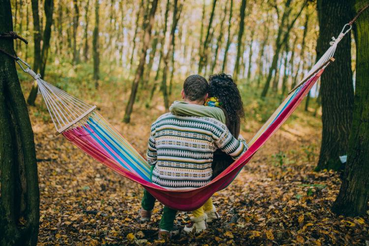 Romantic couple hammock